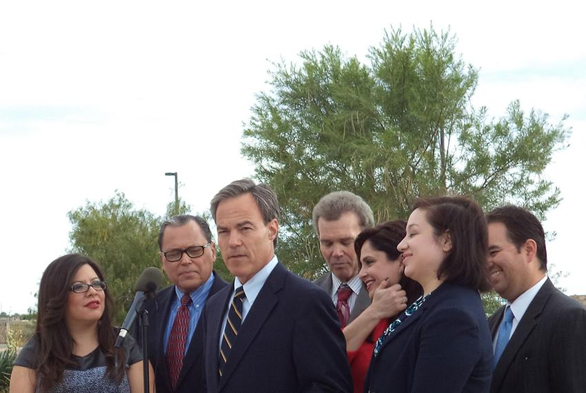 House Speaker Joe Straus, joined by members of El Paso's legislative delegation, promotes Proposition 6 on Oct. 28, 2013, in…