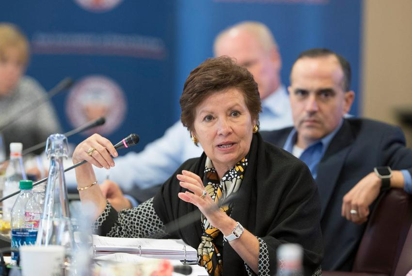 University of Texas System Regent Sara Martinez Tucker asks a question about a new cybersecurity program at UT-San Antonio...