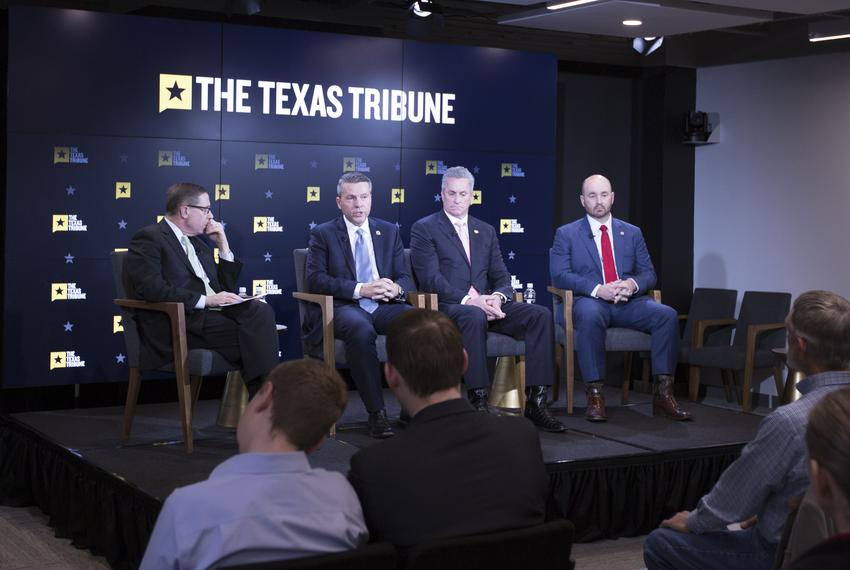From left: Texas Tribune CEO Evan Smith moderates a discussion with state Reps. Brad Buckley, R-Killeen; Sam Harless, R-Spri…