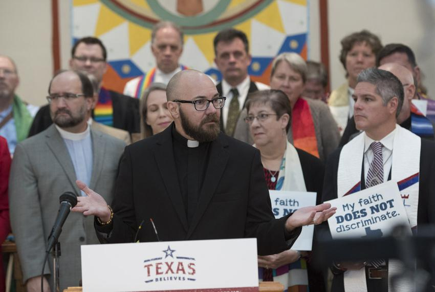 Rev. S. David Wynn of Fort Worth, who identifies as a transgender male, speaks at a press conference of the Texas Believes c…