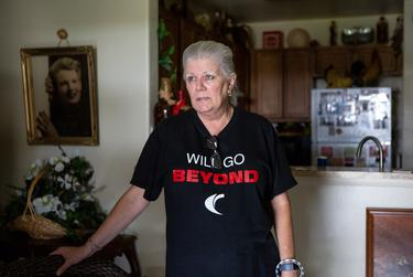 Sandy Simpson, 64, was relieved to find a relatively undamaged home after she evacuated to the greater Houston area ahead of Hurricane Laura. Aug. 27, 2020.