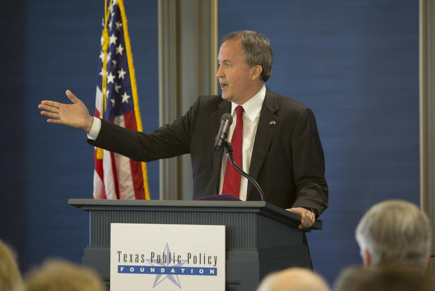 Texas Attorney General Ken Paxton speaks at the grand opening of the Texas Public Policy Foundation's new Austin building on…