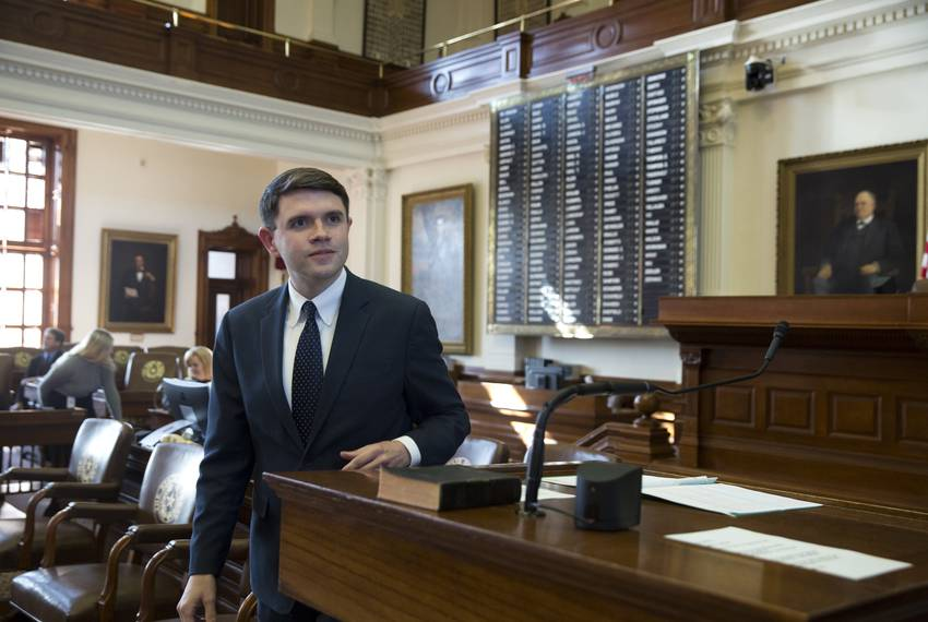 State Rep. James Talarico, D-Round Rock, on the House floor after being sworn in on Nov. 20, 2018. Talarico is one of twelve democrats who took Republican districts in 2018.