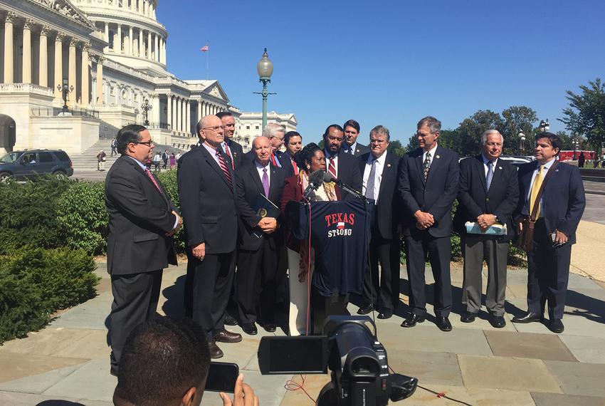 (Left - right) U.S. Reps.Blake Farenthold, R-Corpus Christi; Ted Poe, R-Humble; Pete Olson, R-Sugar Land; Kevin Brady, R-Th…