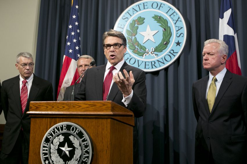 Gov. Rick Perry at a press conference on Oct. 17, 2014, discussing the state's Ebola prevention efforts.