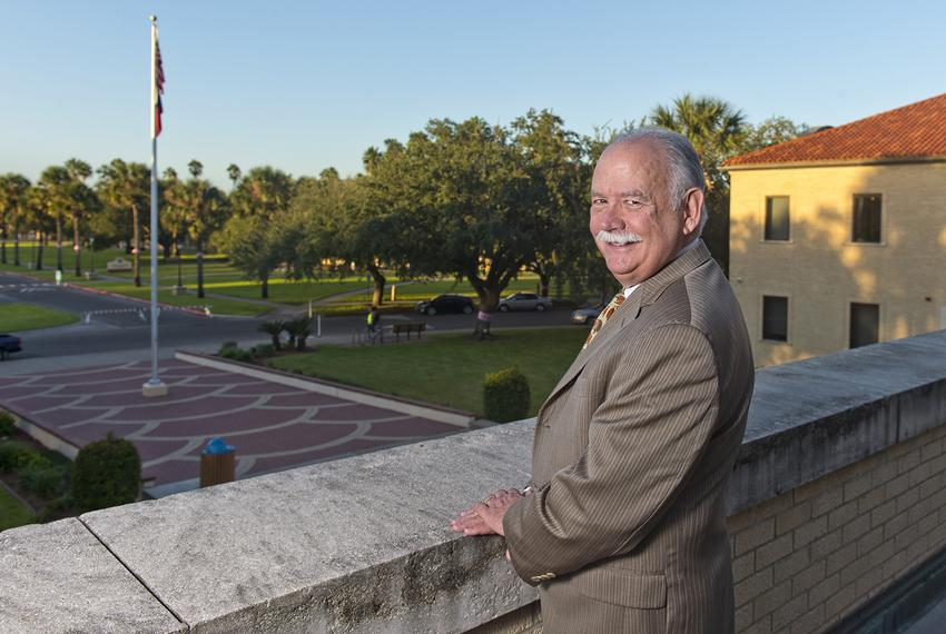 Dr. Steven H. Tallant, president of Texas A&M University-Kingsville, on the balcony of the university's College Hall buildin…