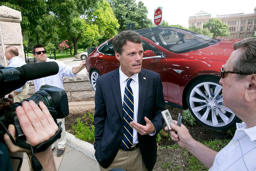 California State Sen. Ted Gaines, R-Roseville, speaks to media outside the Texas State Capitol on June 30, 2014. Gaines is i…