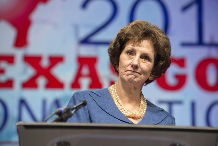 State Comptroller Susan Combs makes a face while delivering a keynote speech at the Texas Republican Convention June 8, 2012.