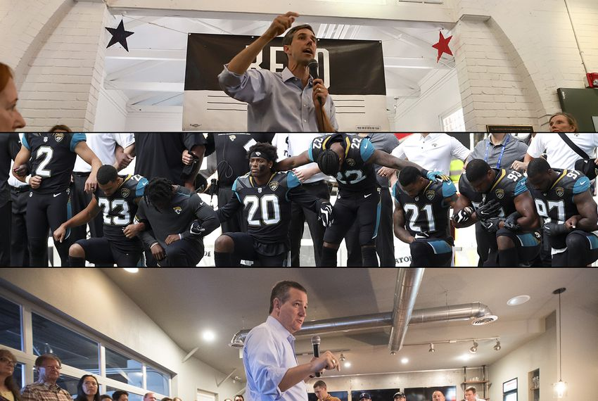 Top to bottom: U.S. Rep. Beto O'Rourke, D-El Paso; some Jacksonville Jaguars football players take a knee during the 2017 season; U.S. Sen. Ted Cruz.