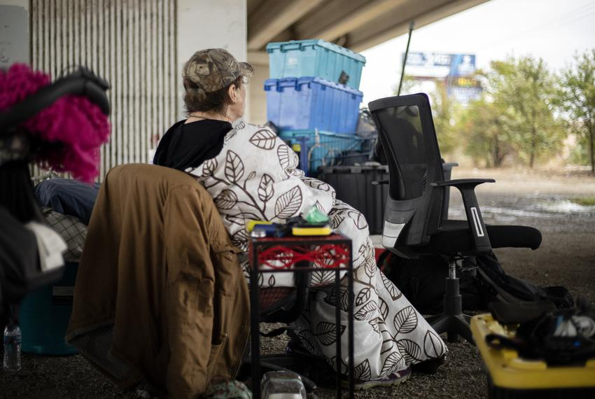 Homeless Austin residents returned to the bridge under Ben White and Lamar Avenue in South Austin on Nov. 7, 2019.