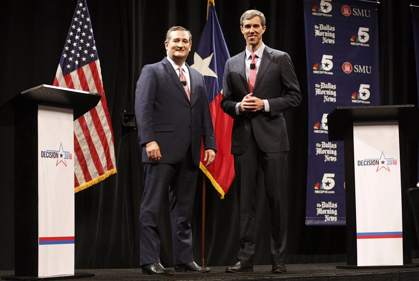 Republican U.S. Sen. Ted Cruz and Democratic U.S. Rep. Beto O'Rourke in their first debate for U.S. Senate in McFarlin Auditorium at SMU in Dallas on Sept. 21, 2018.