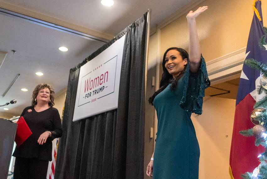 President Donald Trump's 2020 Senior Campaign Adviser Katrina Pierson greets the crowd during a Women for Trump Holiday Ce...