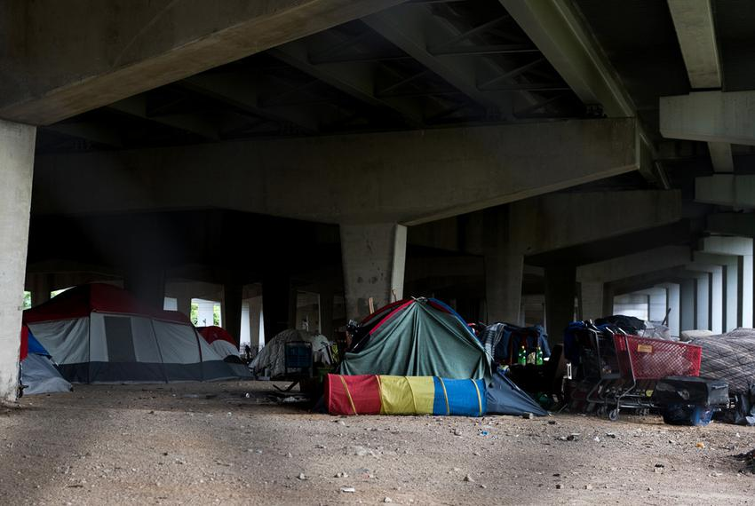 While Dallas' largest homeless encampment was cleared out in early May, others like this have formed under I-30 east of down…