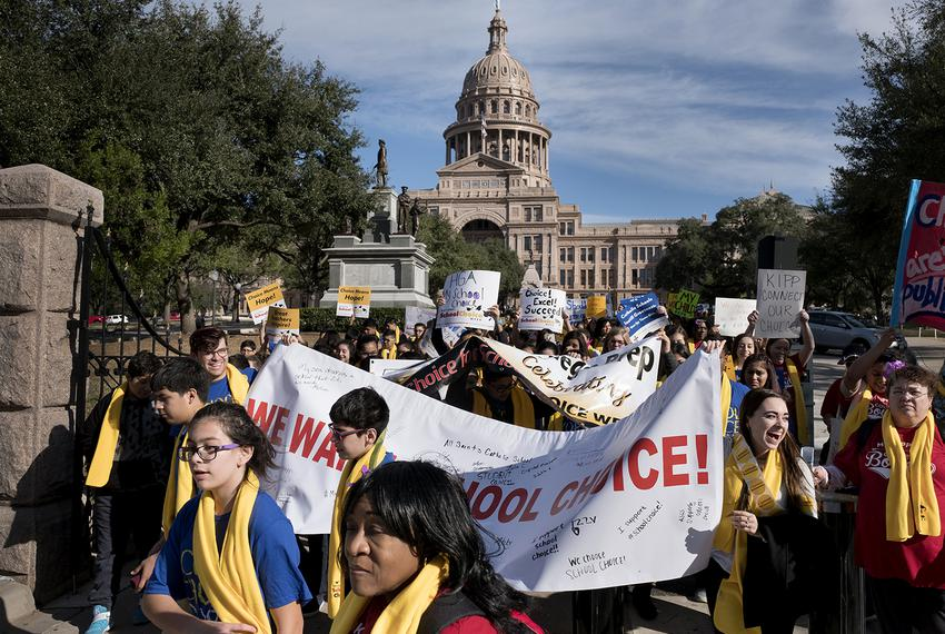 Students, educators, activists and parents march on the south lawn of the Capitol in Austin on January 24, 2017 to show thei…