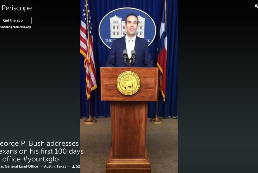 Land Commissioner George P. Bush delivered a speech Wednesday marking his first 100 days in office. His remarks were broadca…