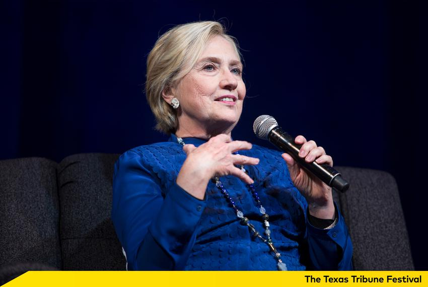 Former presidential candidate Hillary Clinton takes questions at an event in Irving on Nov. 17, 2017.