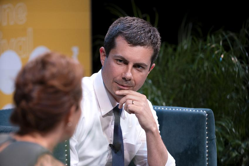 South Bend Mayor and presidential candidate Pete Buttigieg speaks with NBC's Stephanie Ruhle during an afternoon session F...