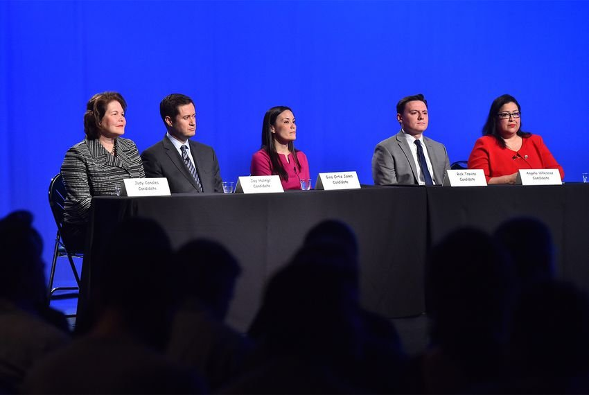 Congressional District 23 Democratic candidates (left to right) Judy Canales, Jay Hulings, Gina Ortiz Jones, Rick Treviño and Angela Villescaz take part in a forum at the KLRN studios in San Antonio on Feb. 27, 2018. The forum was moderated by Patrick Svitek, political reporter for The Texas Tribune, and Beth Frerking, editor-in-chief of the Rivard Report.