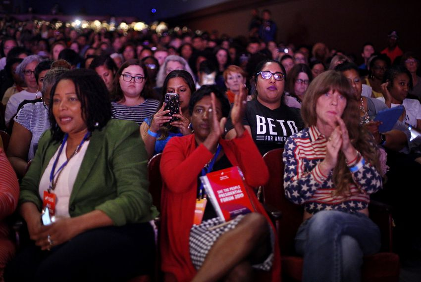 The audience listens at the She the People Presidential Forum at Texas Southern University in Houston. Eight Democratic presidential candidates attended to answer questions Wednesday.