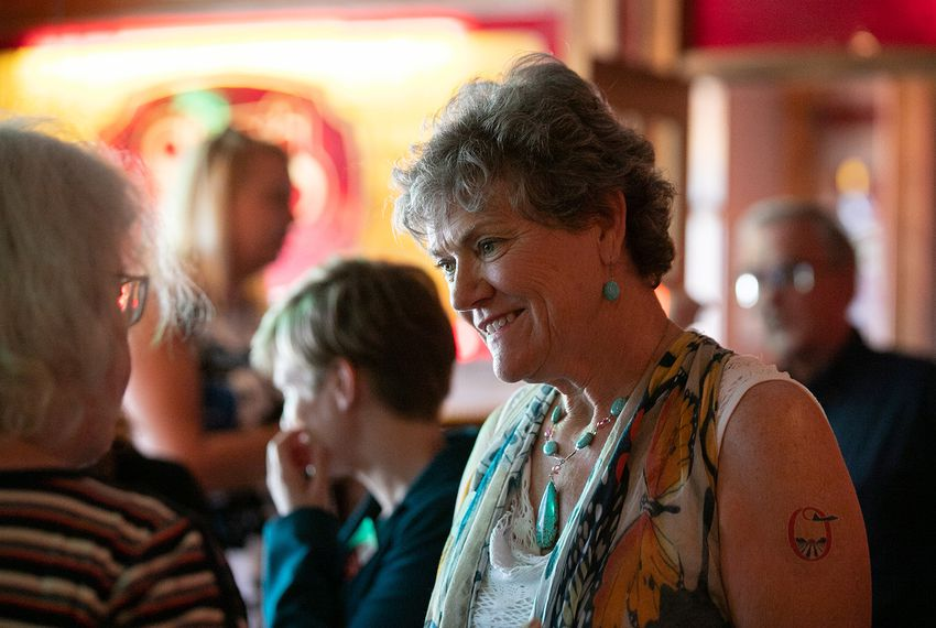 Kim Olson, a Democrat running for commissioner of agriculture, speaks to attendees of the WomenWin conference on Saturday June 9, 2018, which she co-hosted with Joi Chevalier to support first-time Democratic women candidates.