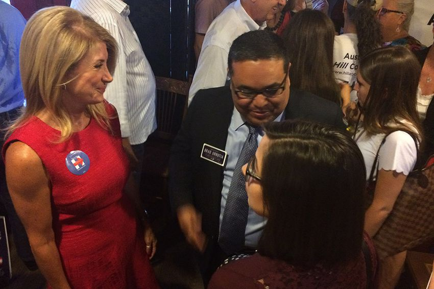 """Former Democratic gubernatorial candidate Wendy Davis greets supporters after holding an event Wednesday in Austin to endorse Hillary Clinton for president. Davis said Clinton, the former secretary of state, holds Texas in a """"very dear place in her heart."""""""