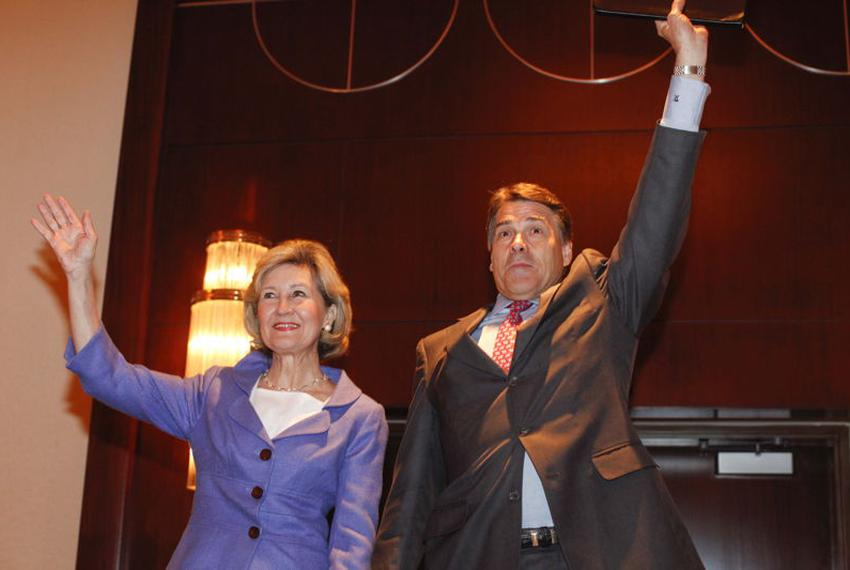 Gov. Rick Perry being endorsed by his former GOP primary rival, U.S. Sen. Kay Bailey Hutchison, at the 2010 Republican Party…