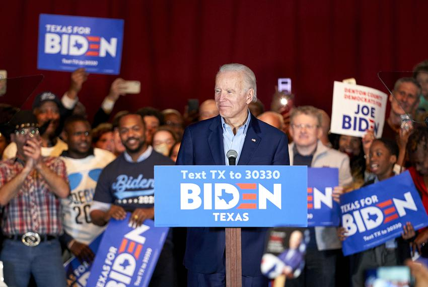 Democratic presidential candidate and former Vice President Joe Biden spoke during a campaign stop in Dallas in March.