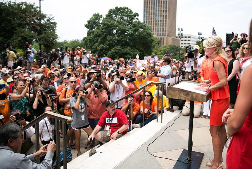Sen. Wendy Davis addresses the Stand with Texas Women Rally crowd at the state Capitol the first day of the second special s…