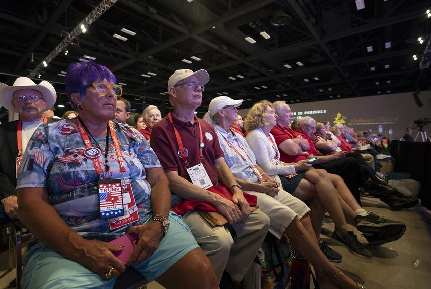 Delegates listen to speeches from party chairman candidates and offer procedural votes at the Republican Party of Texas conv…