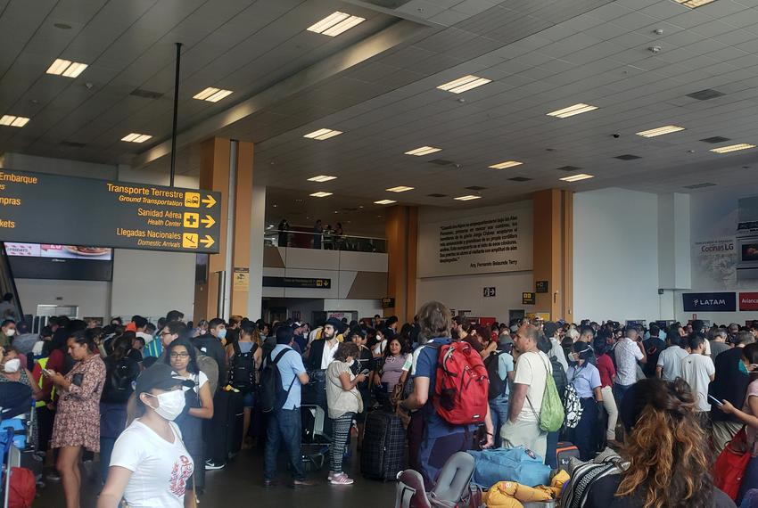 Stranded travelers at the Jorge Chavez International Airport in Lima, Peru on March 16, 2020.