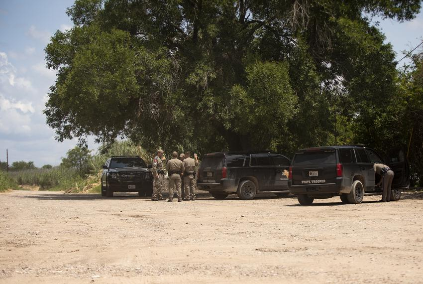 Texas Department of Public Safety officers near the U.S. and Mexico border in Del Rio on July 22, 2021.