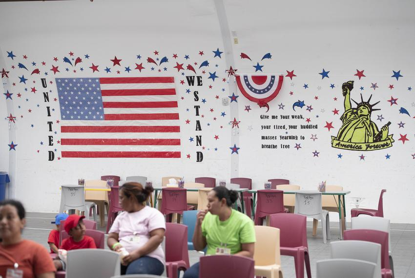 Dilley, TX August 23, 2019: Patriotic themesadorn the recreation center walls at the U.S. Immigration and Customs Enforcemen…