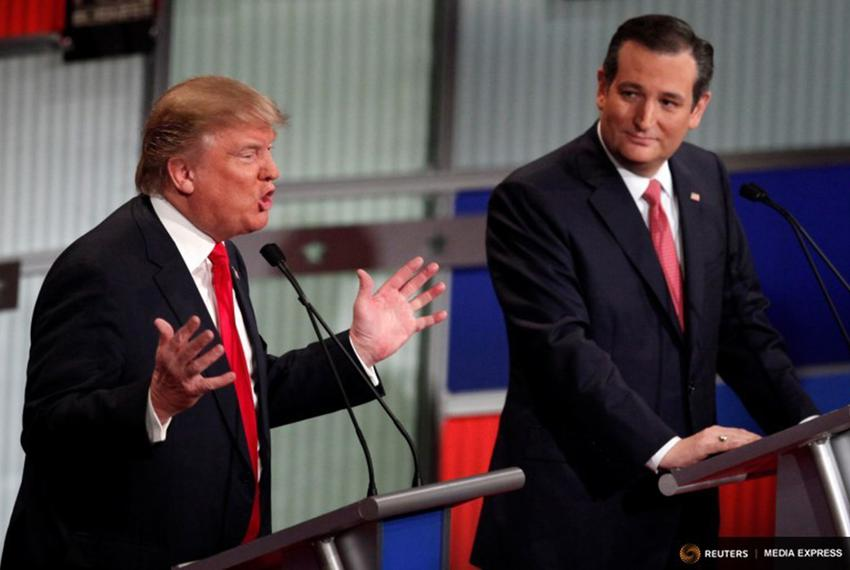 Republican U.S. presidential candidates Donald Trump (l.) and Ted Cruz at the Fox Business Network Republican presidential c…