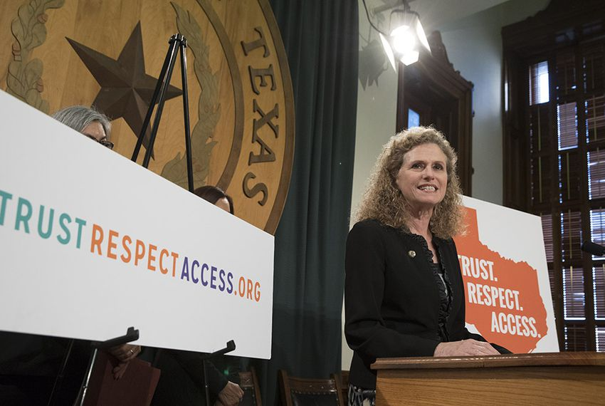 "State Rep. Donna Howard, D-Austin, stands with House colleagues to announce the ""Trust. Respect. Access."" campaign for reproductive rights on Feb. 8, 2017."