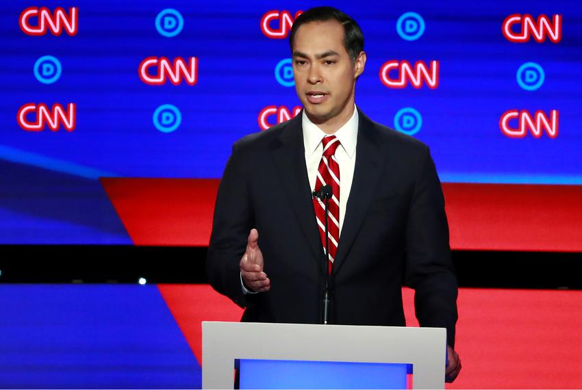 Former Housing and Urban Development Secretary and presidential candidate Julián Castro speaks on the second night of the 20…