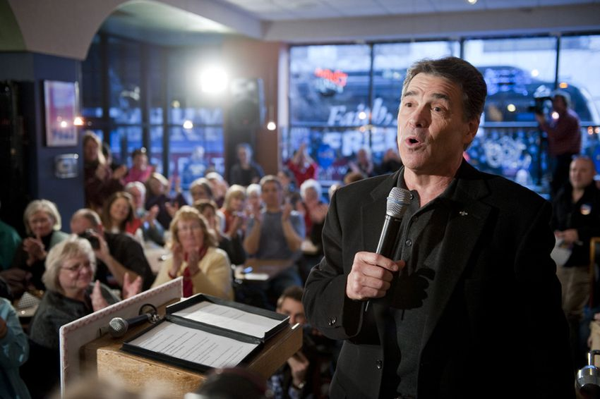 Gov. Rick Perry campaigning in Cedar Rapids, Iowa, on Dec. 28, 2011.