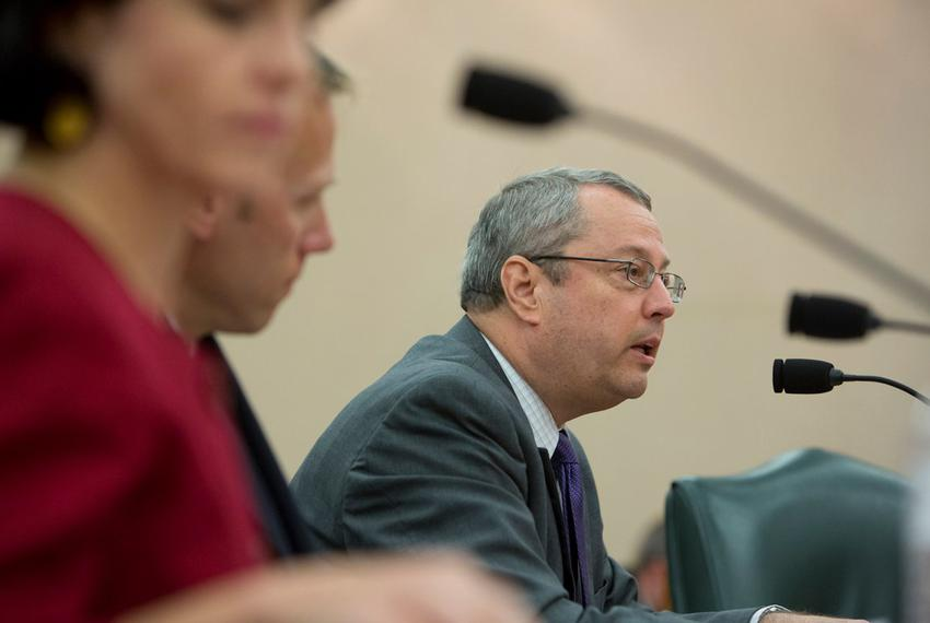 Texas Railroad Commission Chairman David Porter speaks during a Sunset Advisory Commission hearing in Austin on Aug. 22, 2...