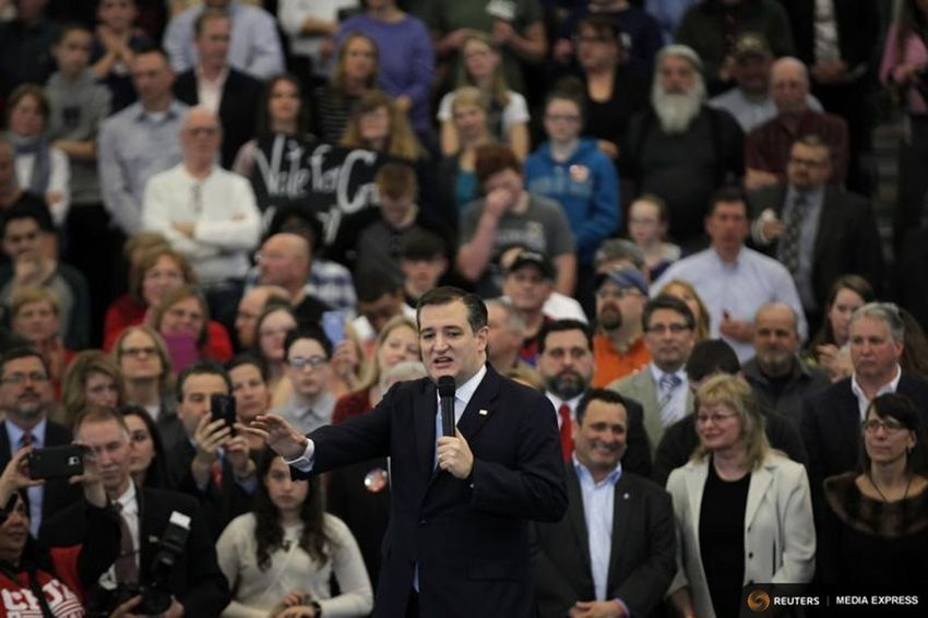 Presidential candidate and U.S. Sen. Ted Cruz speaks at a town hall campaign event at Mekeel Christian Academy in Scotia, New York on April 7, 2016.