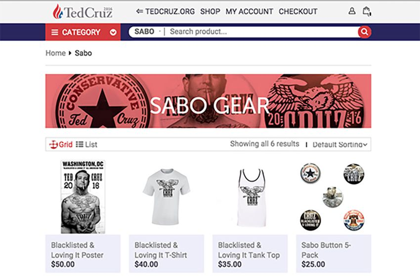 Webpage devoted to merchandise designed by the Los Angeles-based artist Sabo on Sen. Ted Cruz's campaign website.
