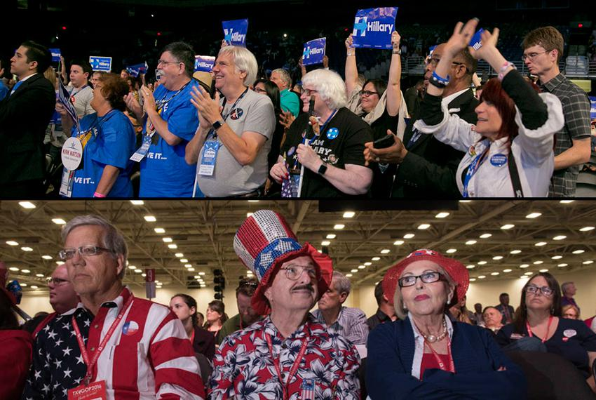 Attendees at the 2016 Texas Democratic Convention in San Antonio (top) and the 2016 Republican Party of Texas Convention in …