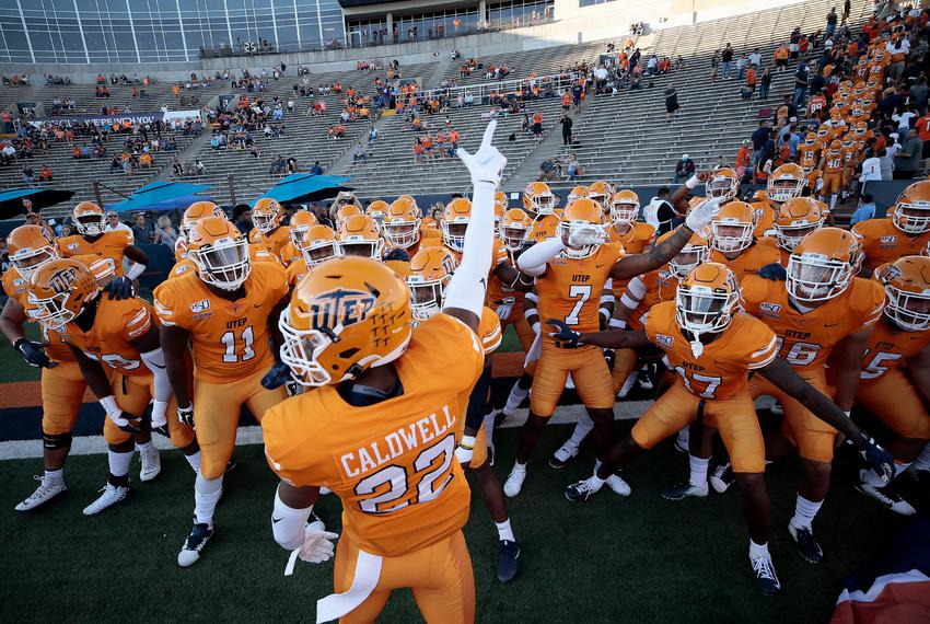 UTEP's Josh Caldwell led the Miners onto the field to face UTSA at Sun Bowl Stadium in 2019.