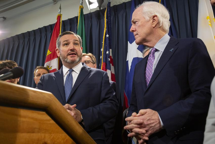 U.S. Sens Ted Cruz and John Cornyn of Texas at a Texas Senate GOP Caucus press conference on April 17, 2019.