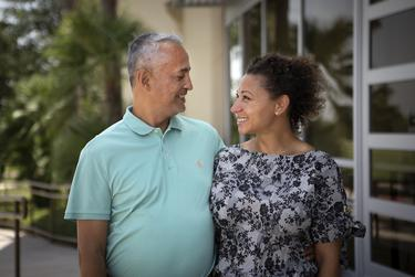 Frank Arredondo and Tyra Greene in Edinburg. Arredondo was one of the first patients to be treated for COVID-19 at DHR Health in Edinburg.