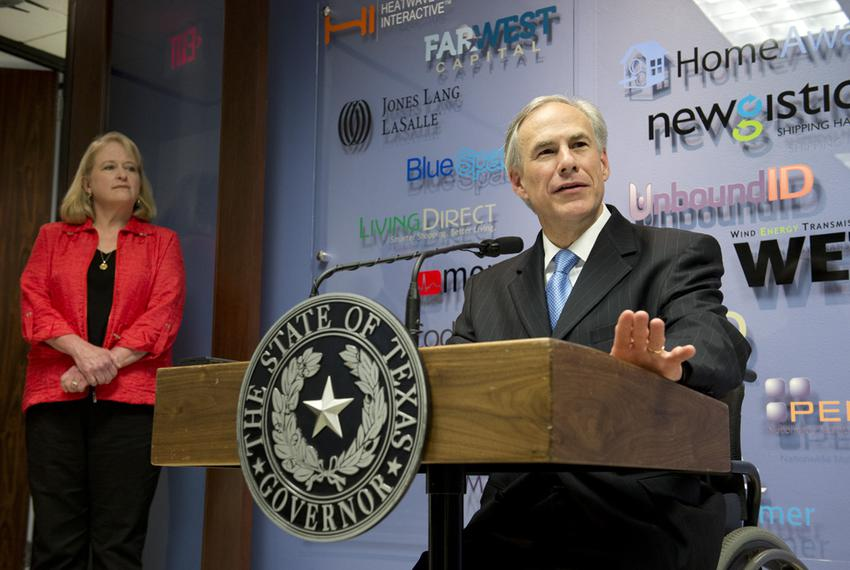 Gov. Greg Abbott holds a press conference with Ellen Wood, president and CEO of vcfo on his plans to greatly reduce the Te...