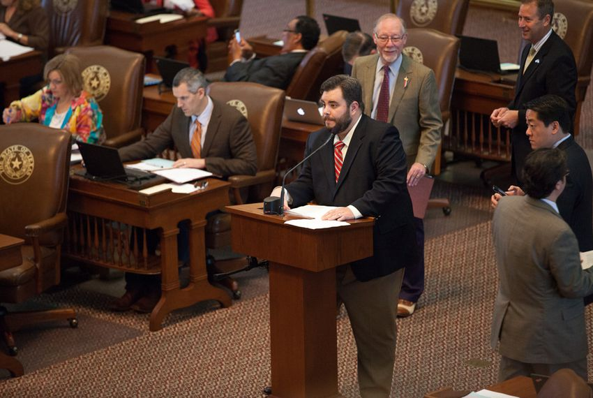 State Rep. Jonathan Stickland, R-Bedford, on the back mic during the reading of local and consent bils, May 15, 2015.