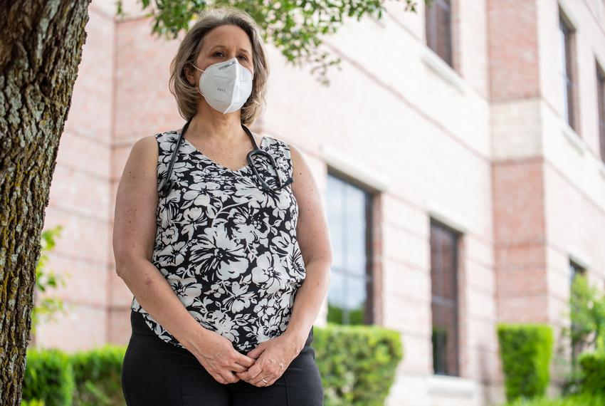 Dr. Christine Mann outside the medical building in Cedar Park where she works, on Monday, June 1, 2020. Mann is running  aga…
