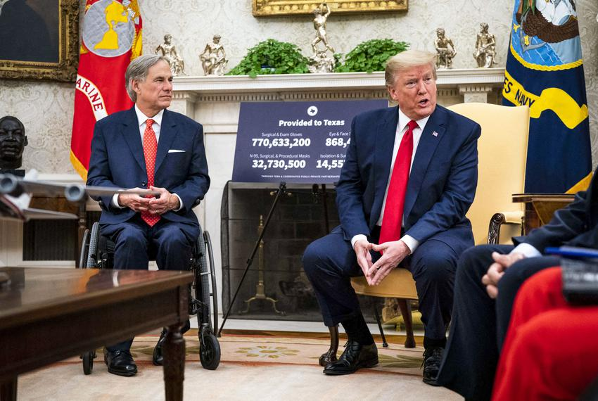 President Donald Trump makes remarks as he meets with Gov. Greg Abbott in the Oval Office in Washington, DC, on May 7, 2020.…
