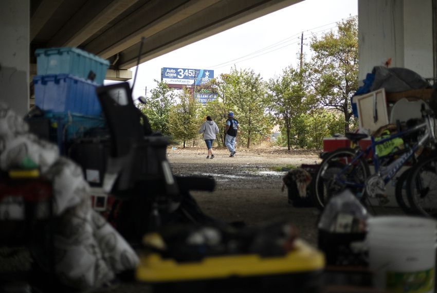 Austin residents experiencing homelessness  resumed camping near Ben White Boulevard and Lamar Avenue after Gov. Greg Abbott sent TXDOT to clear the underpass. Nov. 7, 2019.