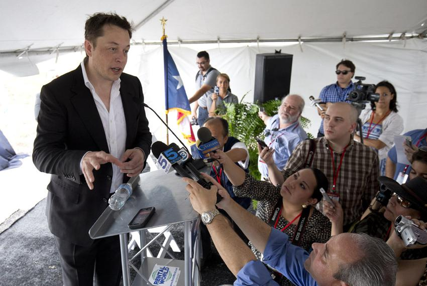 SpaceX CEO Elon Musk at the groundbreaking of the company's launch site near Boca Chica Beach in South Texas on Sept. 22, 20…