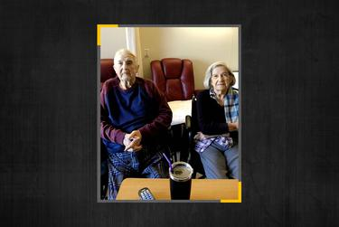 The Stalbaum couple in May 2020, about two months after all Texas' nursing homes were locked down to stop the spread of COVID-19.